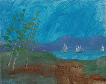 Hudson River Sunday by E.J. Gold